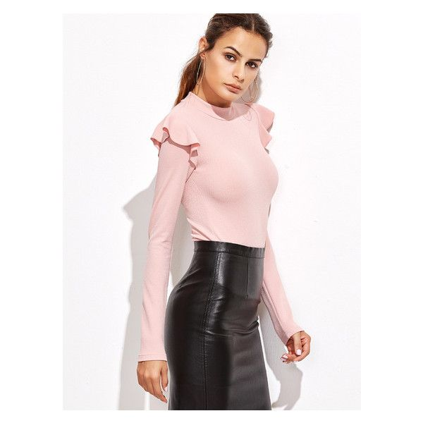 Pink Mock Neck Frill Trim Long Sleeve Bodysuit (18 BAM) ❤ liked on Polyvore featuring intimates and shapewear