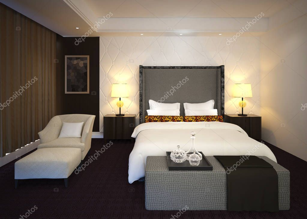 Bedroom Or Hotelroom Interior 3d Illustration