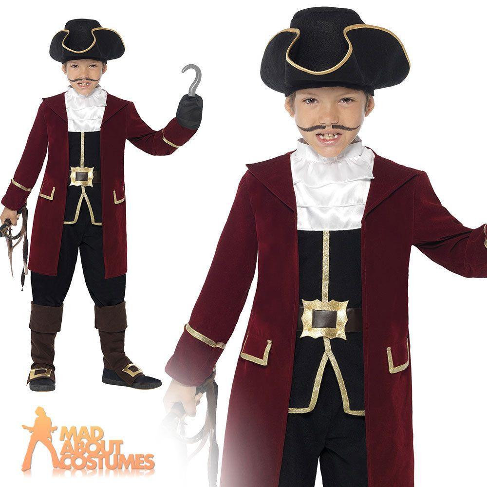 Pirate Captain Hat Boys Fancy Dress Caribbean World Book Day Week Kids Costume