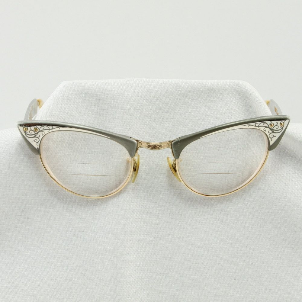 Vintage Shuron Cats Eye 1950 s Aluminum Glasses Frames