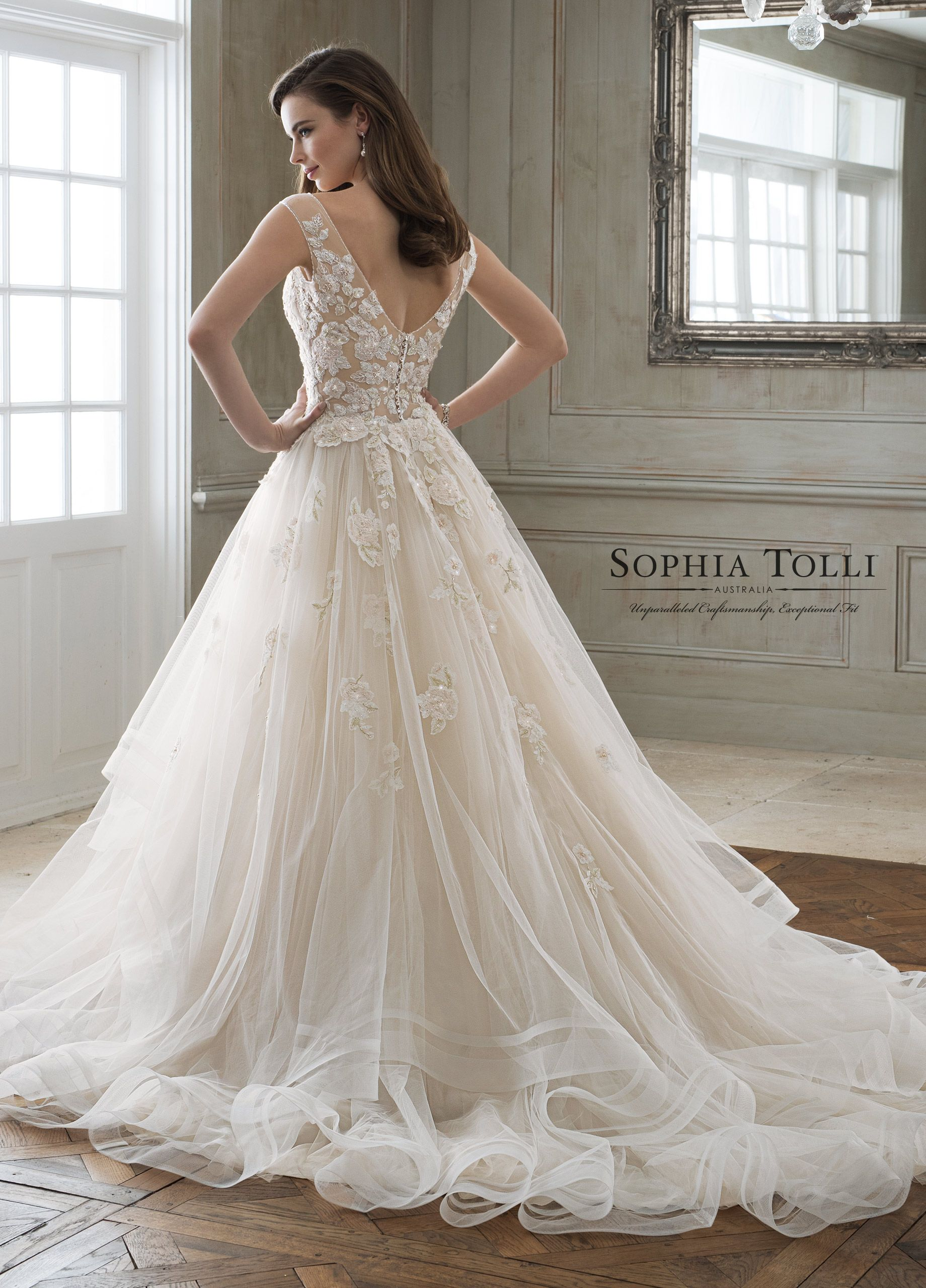 32043b32c Sophia Tolli Y11898 Maia - Leave just enough to the imagination with Maia,  a regal misty tulle full A-line gown adorned with beaded blush lace  appliqués, ...