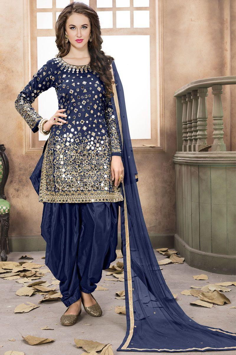 Attractive blue color tapheta silk fabric mirror work indian wedding