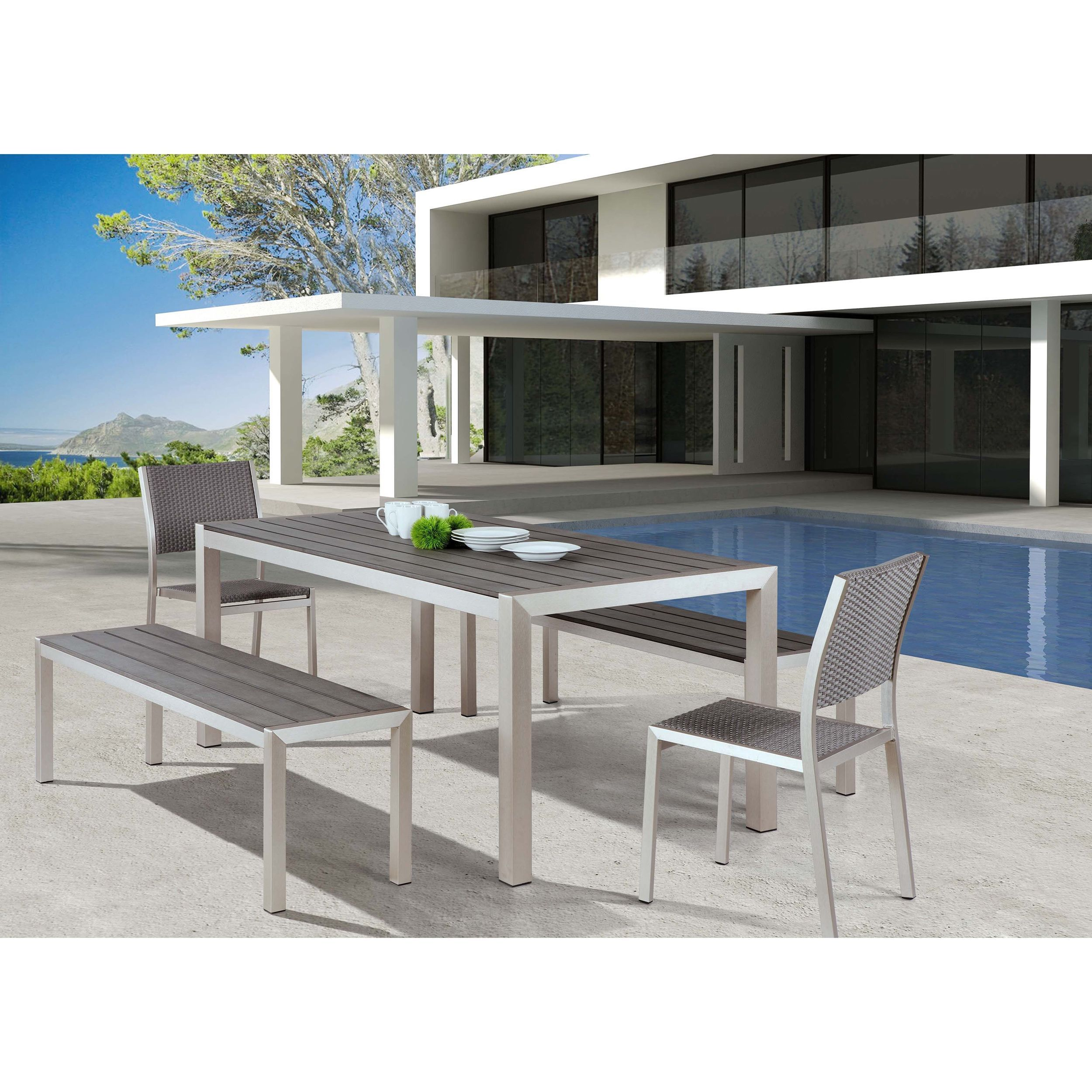 Zuo Metropolitan Brushed Aluminum Outdoor Dining Table Title