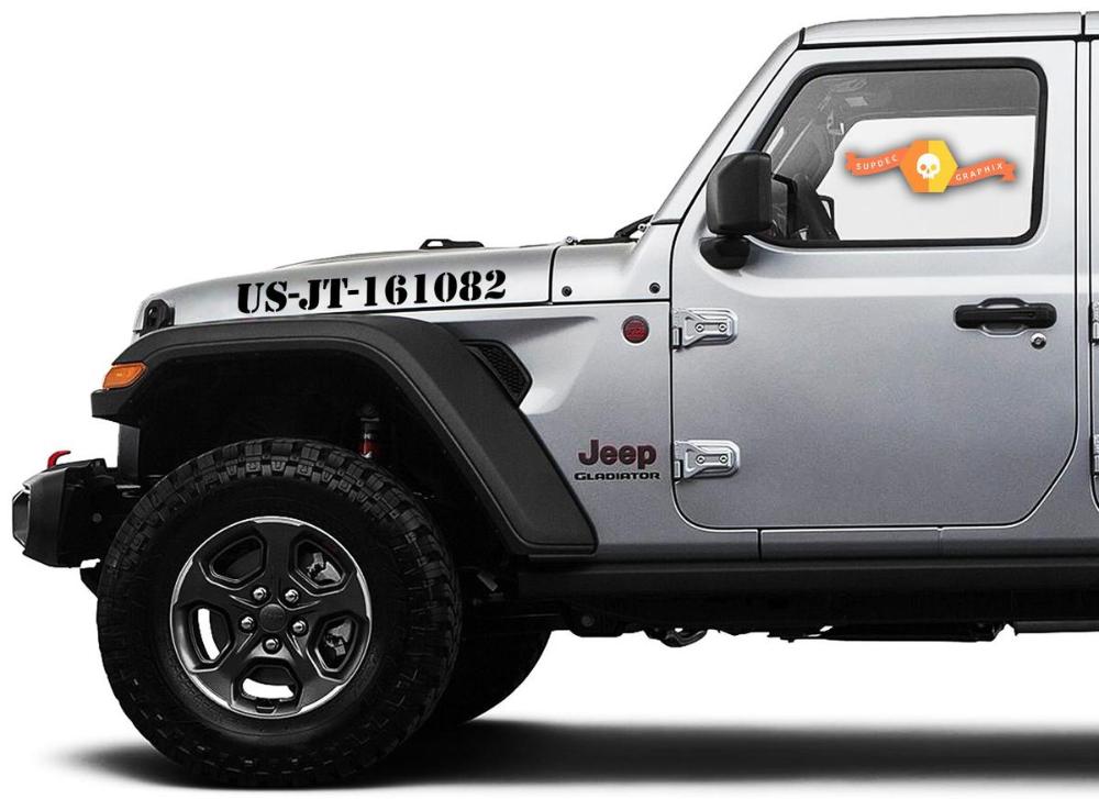 Pair Of Jeep Gladiator Side Jt Wrangler Jl Jlu Custom Text Hood Lettering Graphics Vinyl Decal Sticker Graphics Kit 2020 Jeep Gladiator Wrangler Jl Jeep