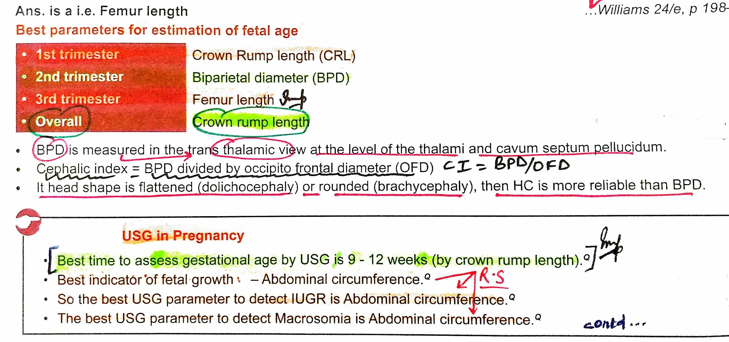 Parameters For Estimation Of Fetal Age Crown Rump