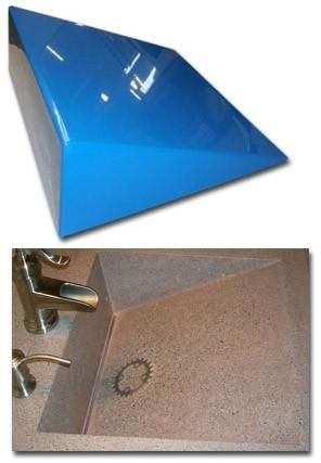 Great Concrete Countertop RUBBER Sink Mold, SDP 2 Wedge Ramp