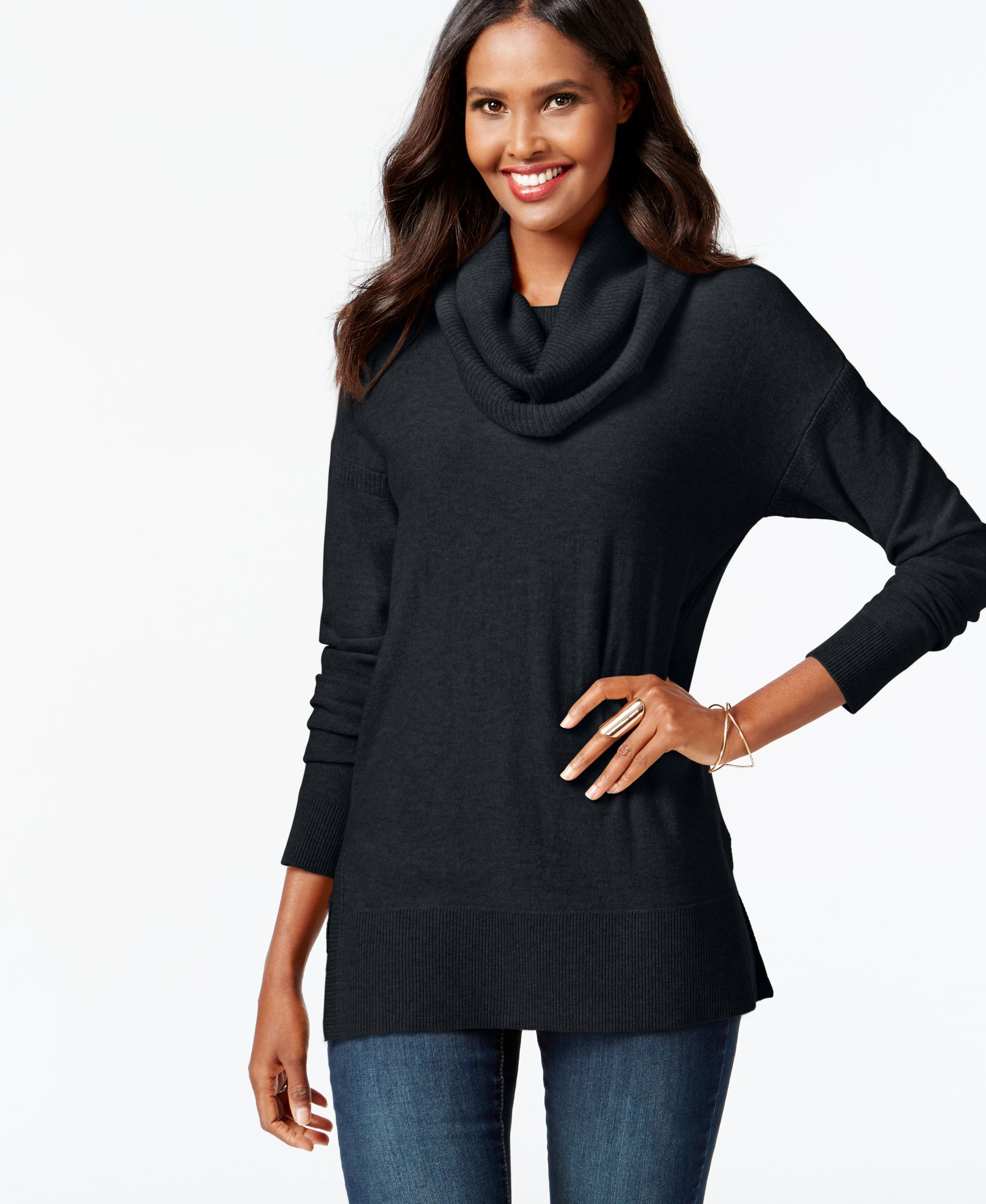 Inc International Concepts Cowl-Neck Tunic Sweater, Only at Macy's ...