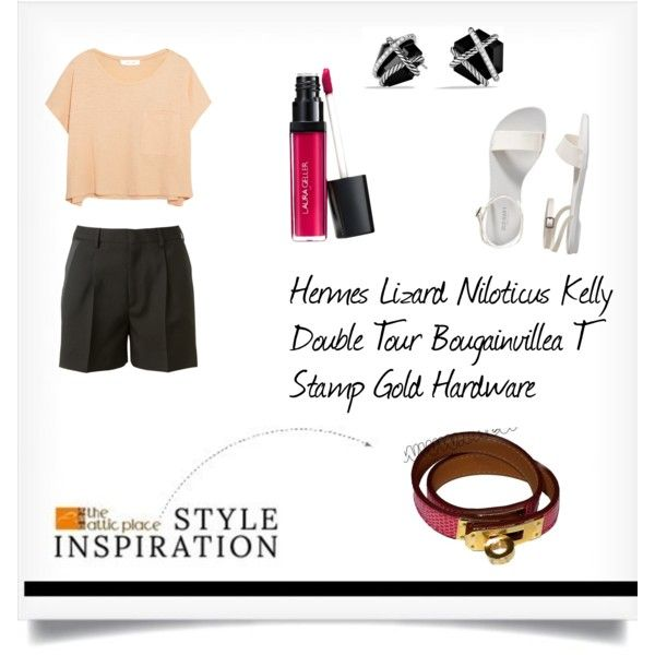 :: STYLE INSPIRATION - Hermes Lizard Niloticus Kelly Double Tour Bougainvillea T Stamp Gold Hardware :: by the-attic-place on Polyvore featuring Elizabeth and James, Yves Saint Laurent, Old Navy, David Yurman and Laura Geller