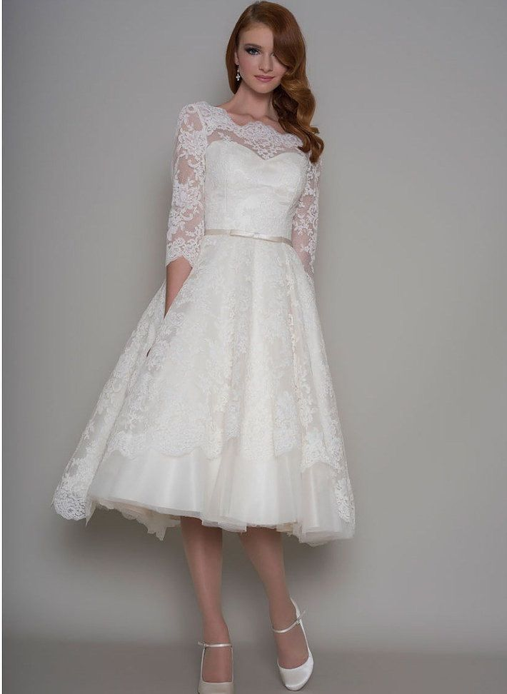 T Length Wedding Dress with Sleeves