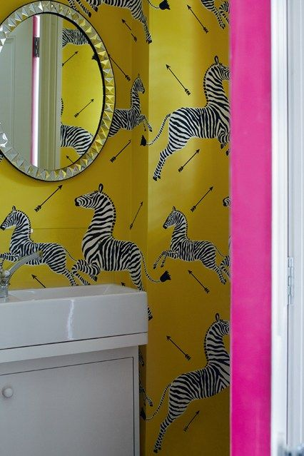 Scalamandre Zebra Wallpaper In Bathroom Where To Hang
