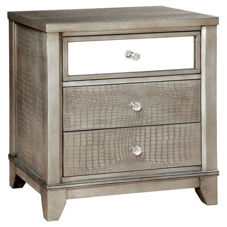 Featuring A Mirrored Drawer Front And Faux Croc Embossed Panels This Distinctive Nightstand Makes A Gla Mirrored Nightstand Nightstand Contemporary Nightstand