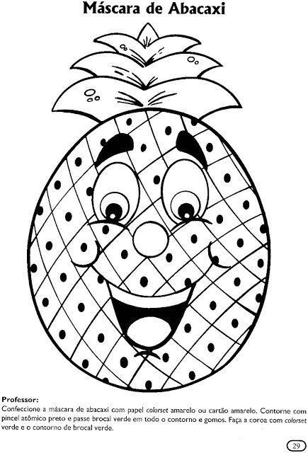 Atividades para colorir infantil: Máscaras de frutas: máscara de ...