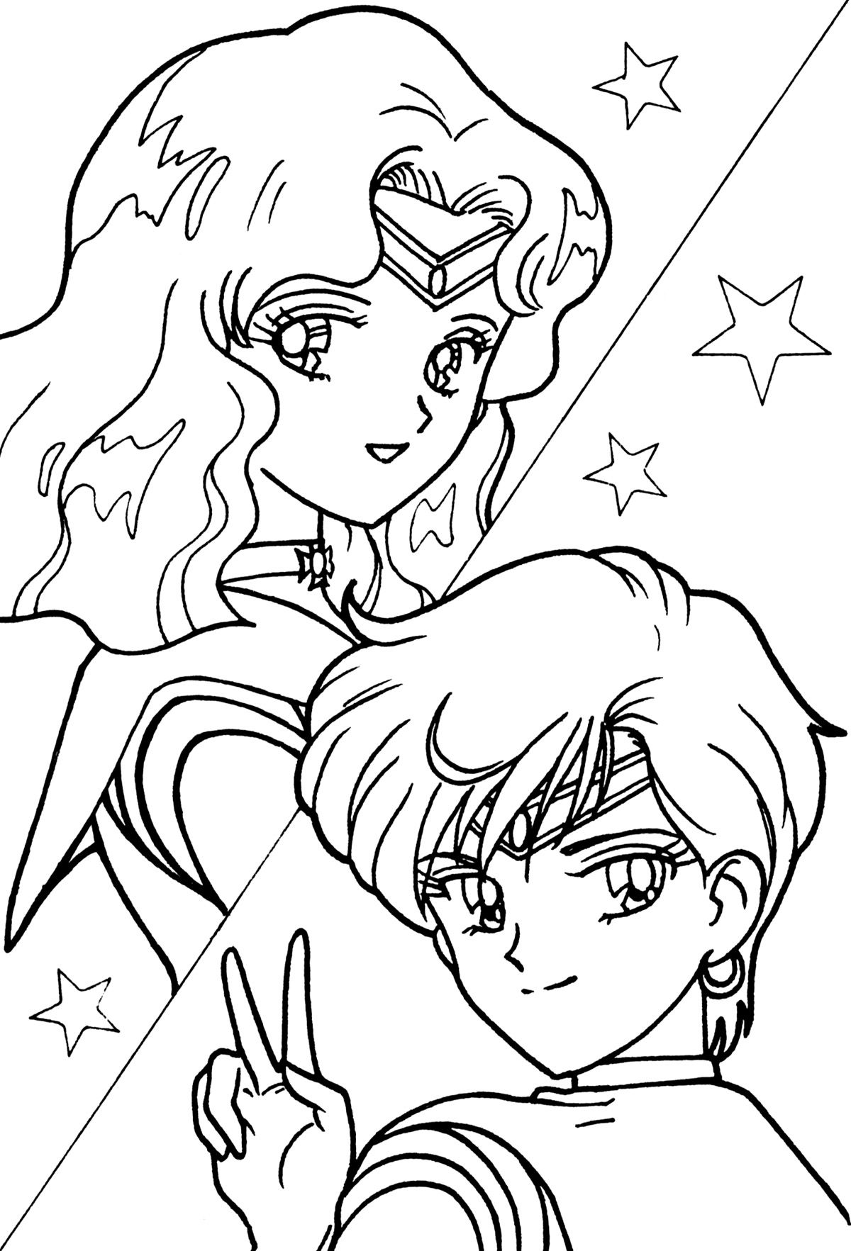 Sailor Neptune And Sailor Uranus Coloring Page Sailormoon