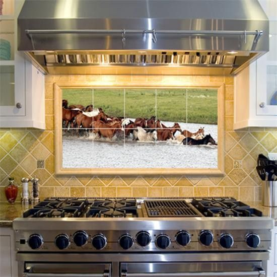 Horses In Water Decorative Tile Mural Kitchen Decor Tiles Western Home Decor House Flooring