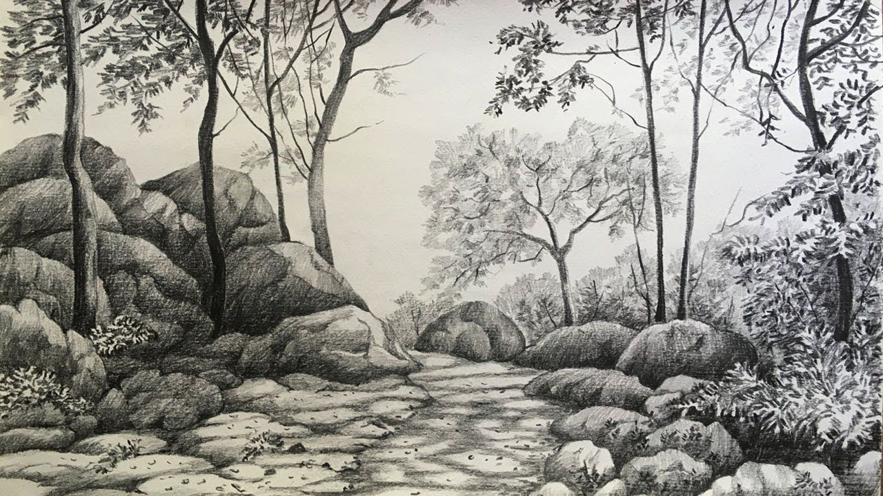 Landscape Drawing In Pencil Forest Drawing Pencil Sketch Youtube In 2020 Landscape Drawings Forest Drawing Landscape Pencil Drawings