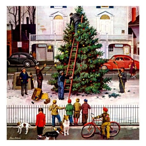 ... Norman Rockwell Christmas Tree. Tree in Town Square by Stevan Dohanos,  1948 - Tree In Town Square,