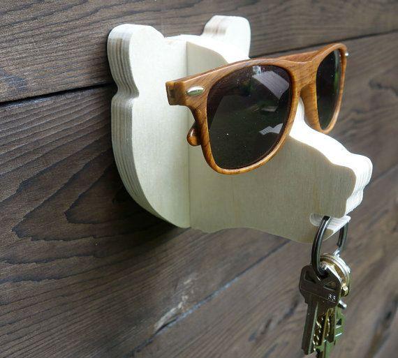 Key Hook Bear Head Wall Hanger In Birch Hang Keys