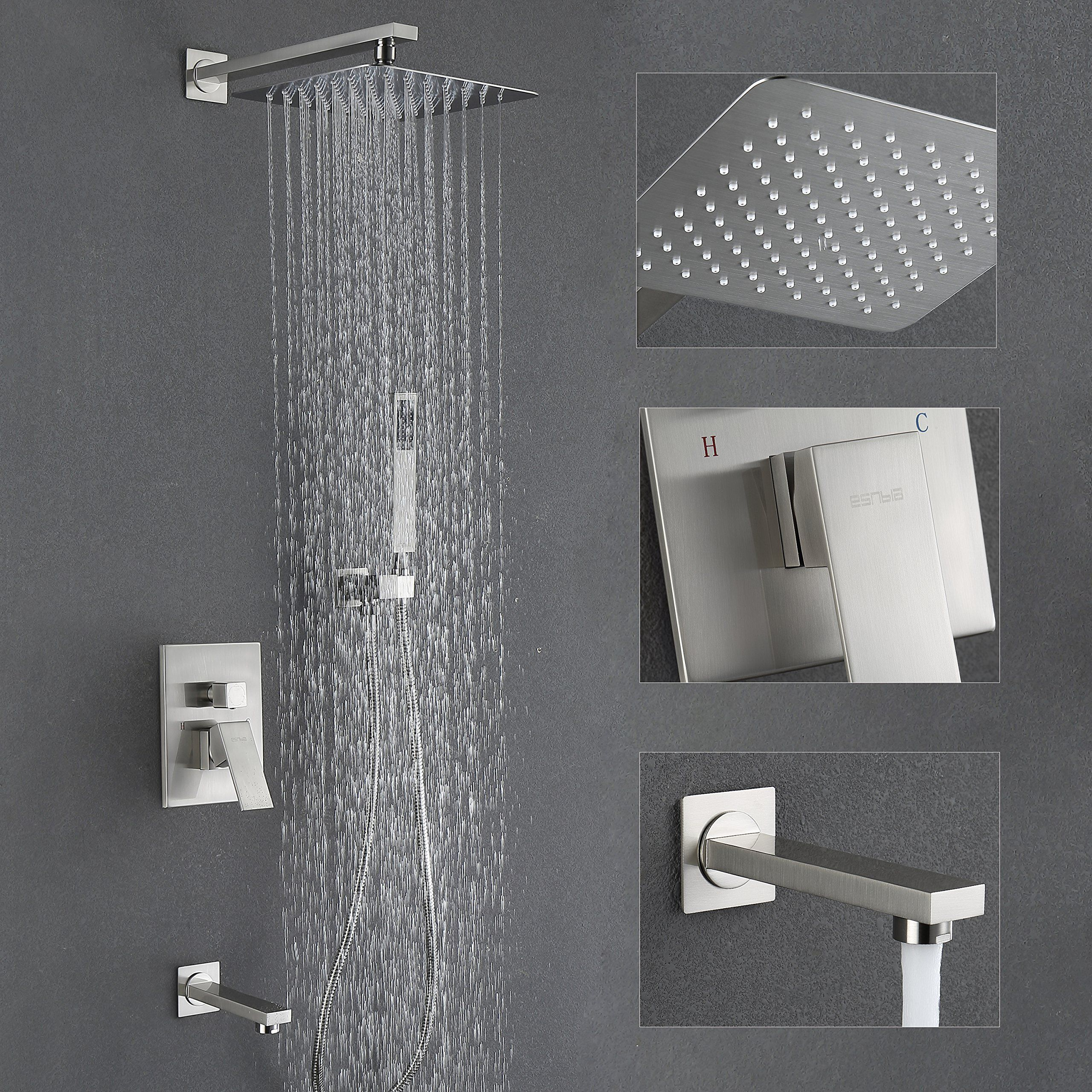 "Esnbia Shower System with Tub Spout and 10"" Rain Shower Head Shower ..."
