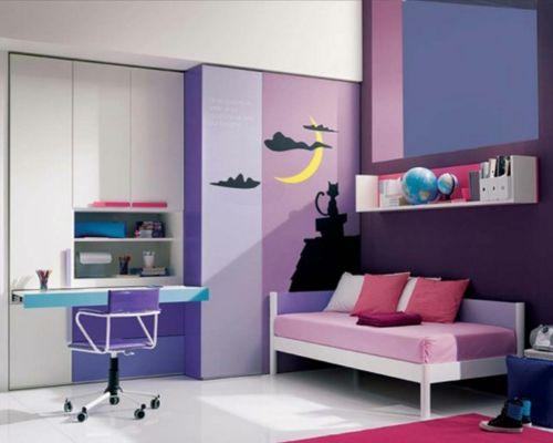 Farbgestaltung f rs jugendzimmer 100 deko und einrichtungsideen bunte farben violett - Jugendzimmer farben ...