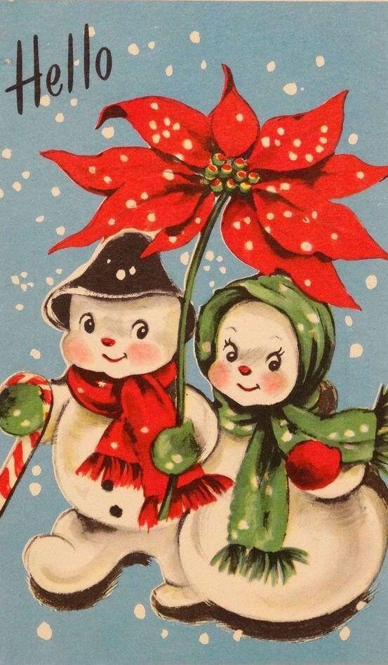 399 Happy Snowman Couple W Poinsettia Umbrella Vtg Christmas Card Greeting