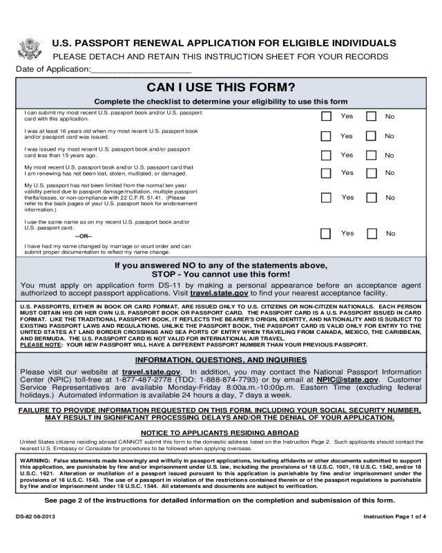 Free Passport Renewal Form 2019 Passport Renewal Form