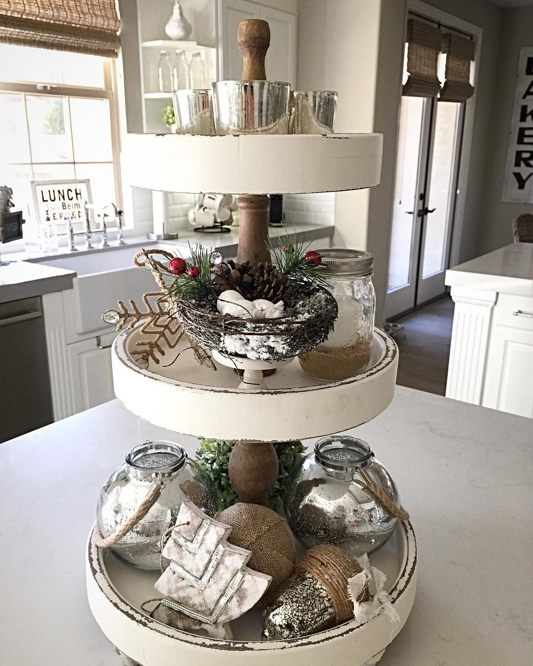 Sharing Some Christmas Bling On My Favorite 3 Tier Tray Off To Decorate The Christmas Tree Finally Tray Decor Tiered Tray Tiered Tray Decor