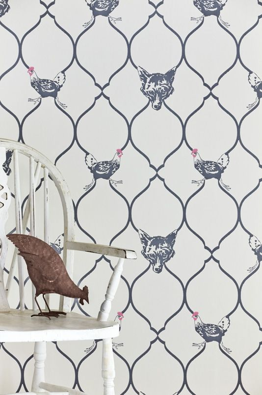 Fox hen wallpaper clever trellis design incorporating a foxes head and a chicken in