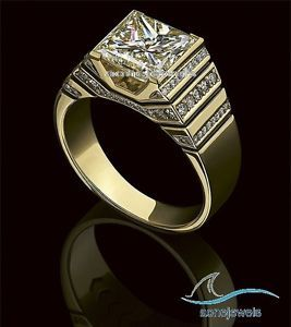 97e8587bd6f284 14K-Yellow-Gold-Mens-Princess-Diamond-Wedding-Engagement-Pinky-Ring -Band-2-60-Ct
