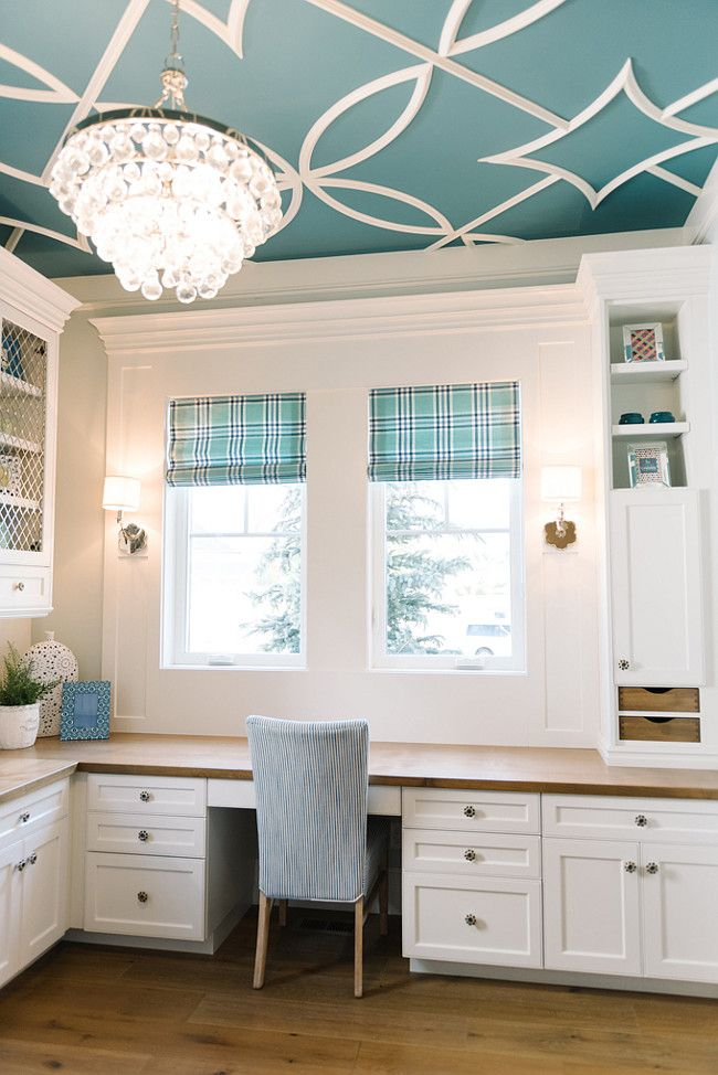Ceiling Paint Color Is Benjamin Moore Baltic Sea Csp 680 With Overlay Pattern In Dove White