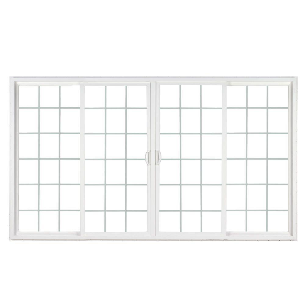 Simonton 144 In X 80 In 4 Panel Contemporary Vinyl Sliding Patio Door W Prosolar Low E Glass Grids Custom Interior Hardware Cpd 14480whl2caarfs The Home Vinyl Sliding Patio Door Sliding Patio