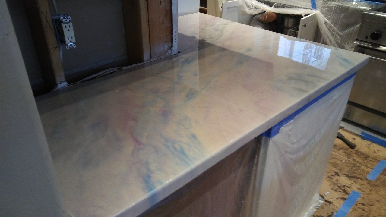 Blue And White Metallic Marble Epoxied Countertops Houston Tx