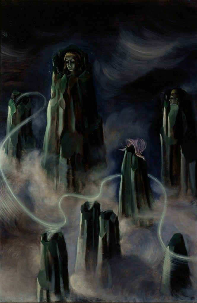 Las almas de los montes (Espíritus de la montaña) || 1938, óleo/triplay || Remedios Varo (1908-1963) | Remedios varos, Producción artística, Pintores surrealistas