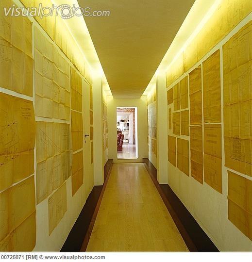 Corridor Design Ceiling: A Long Corridor Illuminated By Indirect