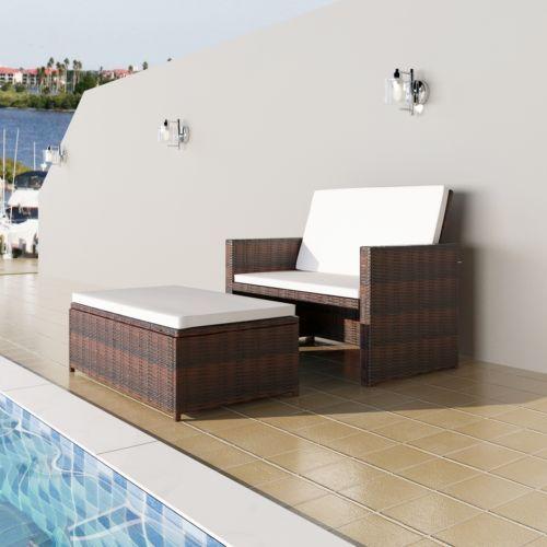 3in1 Rattan Sofabett Lounge Gartengarnitur Gartenliege Klappbar ...