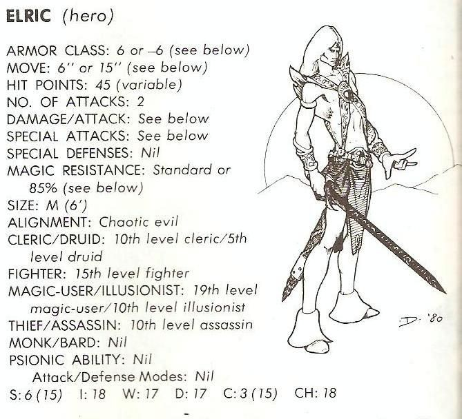 Elric stats from Deities and Demigods ..Jeff Dee art | Dungeons ...