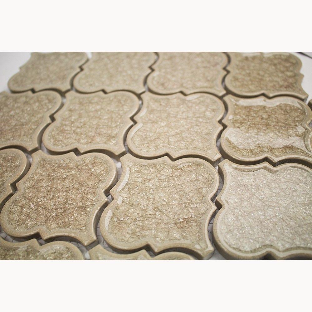 Roman Hazelnut Cream Arabesque Glass Tile In 2020 Arabesque Tile Mosaic Glass Glass Mosaic Tiles
