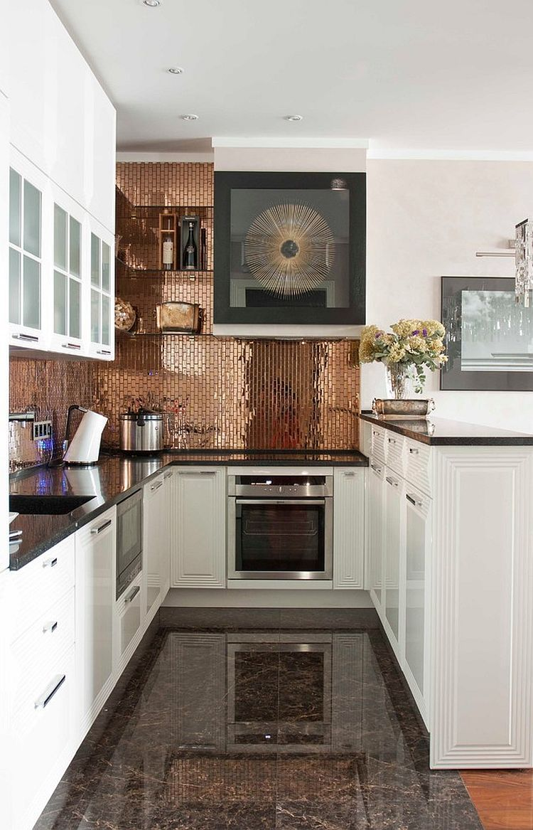 copper backsplash adds personality to this kitchen. | kitchens