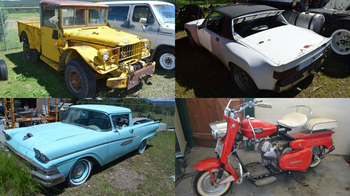 Huge auction hoard tons of trucks two porsches a ranchero and cushmans