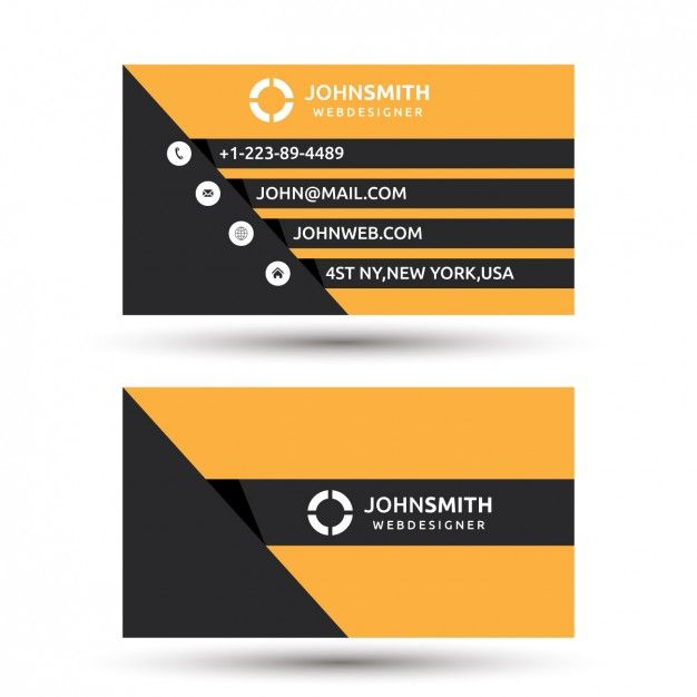 Simple orange and black business card templatea business card template