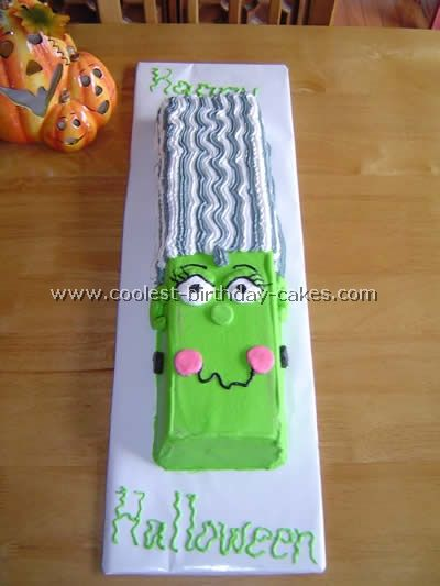 frankengirl halloween cake i used two loaf pans and glued them together with