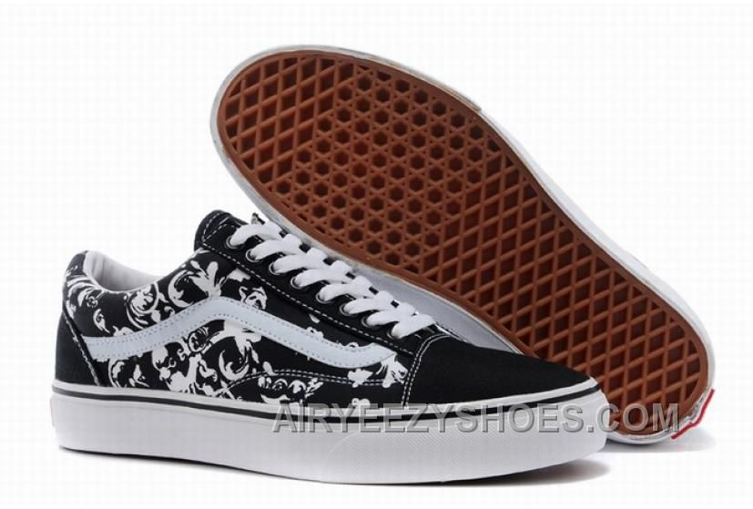 Vans Old Skool Floral Black White Womens Shoes Cheap To Buy