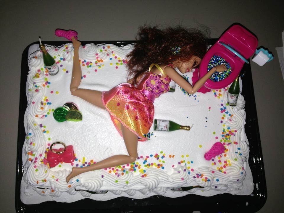 Drunken Barbie 21st Birthday Cake