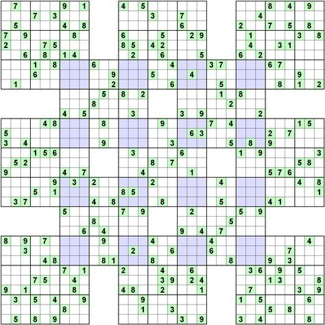 Number logic puzzle 8962 is part of Logic puzzles, Sudoku puzzles, Sudoku free, Maths puzzles, Sudoku, Sudoku printable - Type Sudoku, Rectangular Blocks  Size 9  Overlap variant Sumo