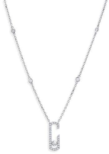 Messika Move Addiction Diamond Bezel Necklace in 18K White Gold pXHXEvyy