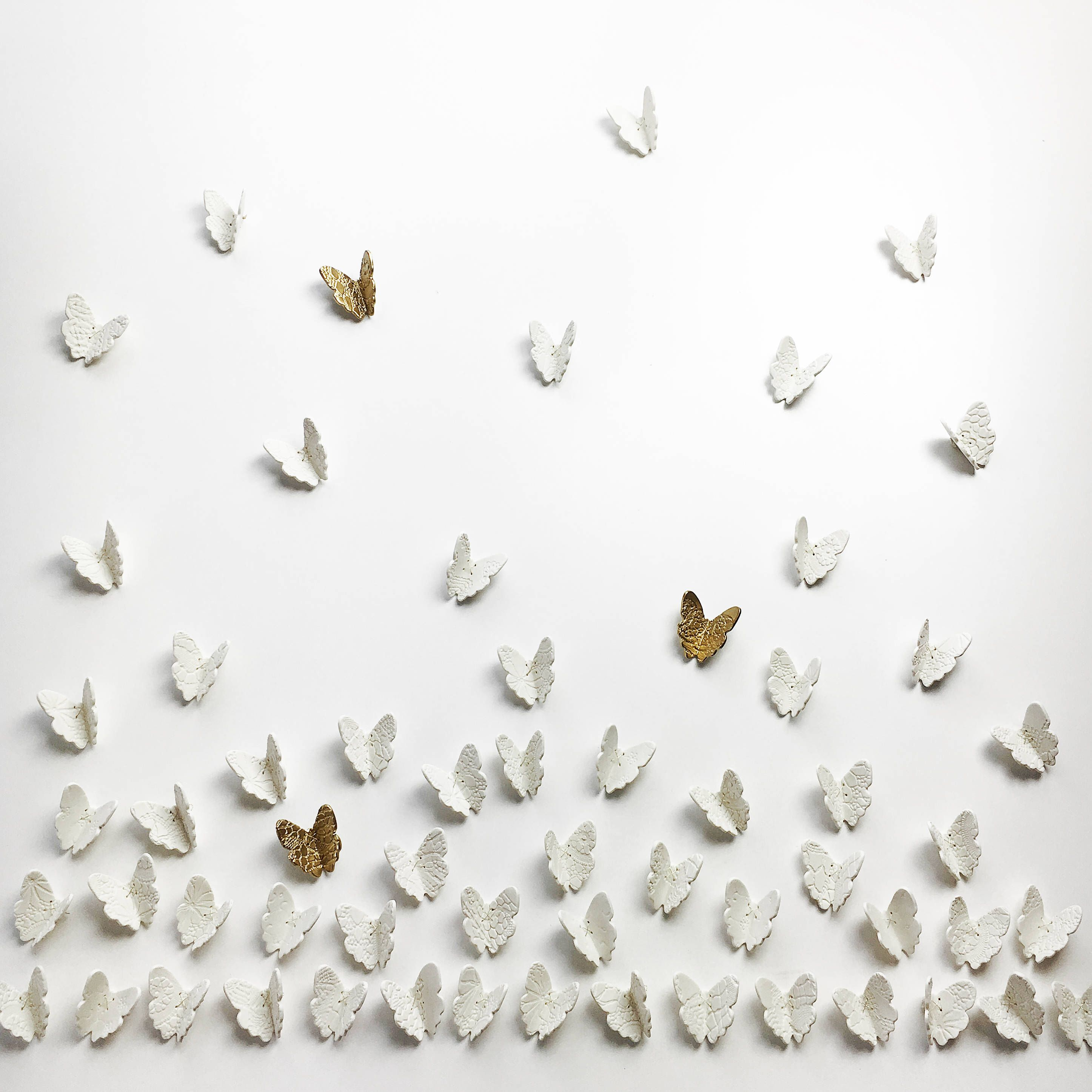 Extra large wall art set d butterfly wall art white porcelain