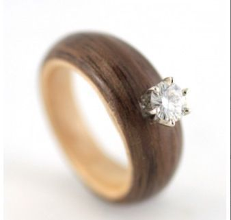 Wooden engagement ring.