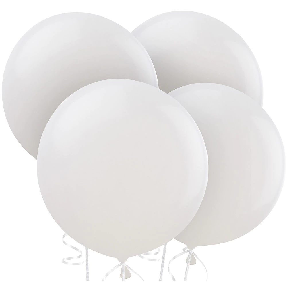 White Balloons 4ct 24in White Balloons Balloons Gold Baby Showers