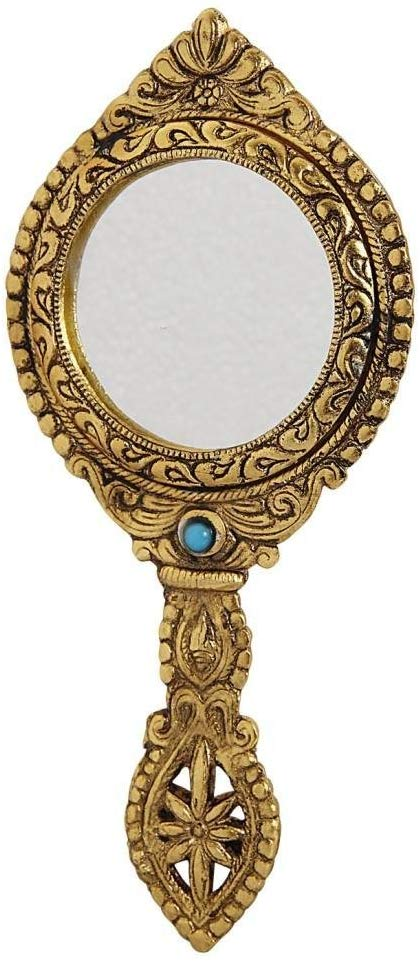 Amazon Com Handicrafts Paradise Hand Mirror Double Sided Antique Golden Finish Round Shape Carved In Metal Home Kitchen Hand Mirror Mirror Antique Mirror