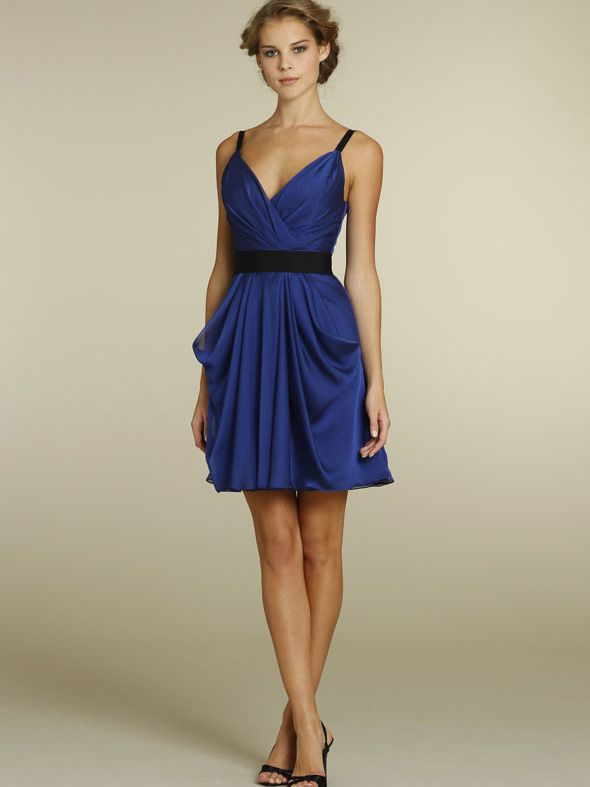 royal blue chiffon short a-line casual bridesmaid dress with black ...