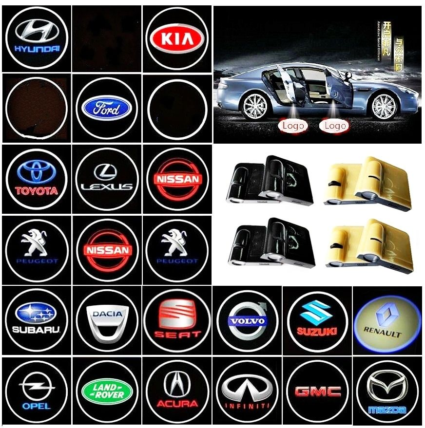 2x Wireless Welcome Light Car Door Light Projection Laser Light Led Hd Logo Light For Hyundai Nissan Honda Ford Toyota Gmc Car Gadgets Nissan Lighting Logo